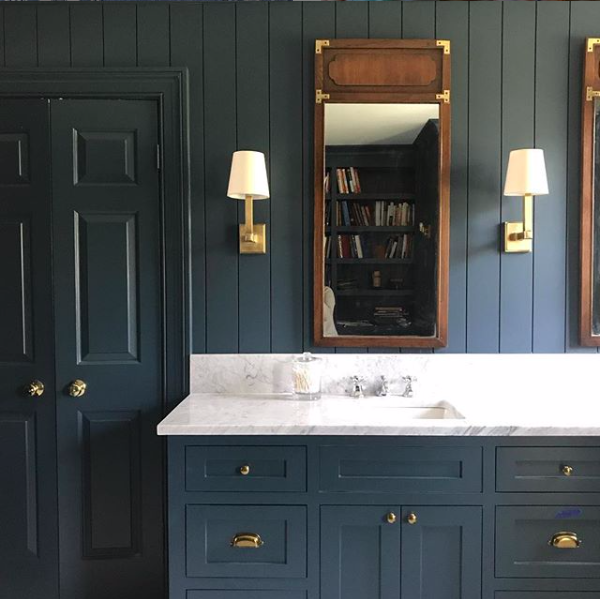 I saw this photo via instagram last spring and loved it, though I was a bit gun shy going all blue in my bath—so I blended these ideas with a simply white by Benjamin moore and a light warm gray. You can see my tile, cabinet and counter choices below. inspiration via  Sabbe Interior  Design