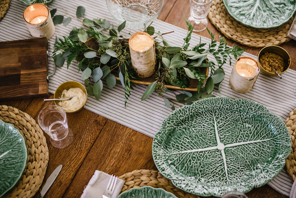 Tablescape pre food: Platter, Williams Sonoma; plates, Homegoods; grass charger, Ikea; Glassware, Hearth & Hand, Target; runner, Hand sewn by friend, Peggy Stewart, fabric from Waverly/purchased at Walmart. Photo by Rachel Cuthbert Photography