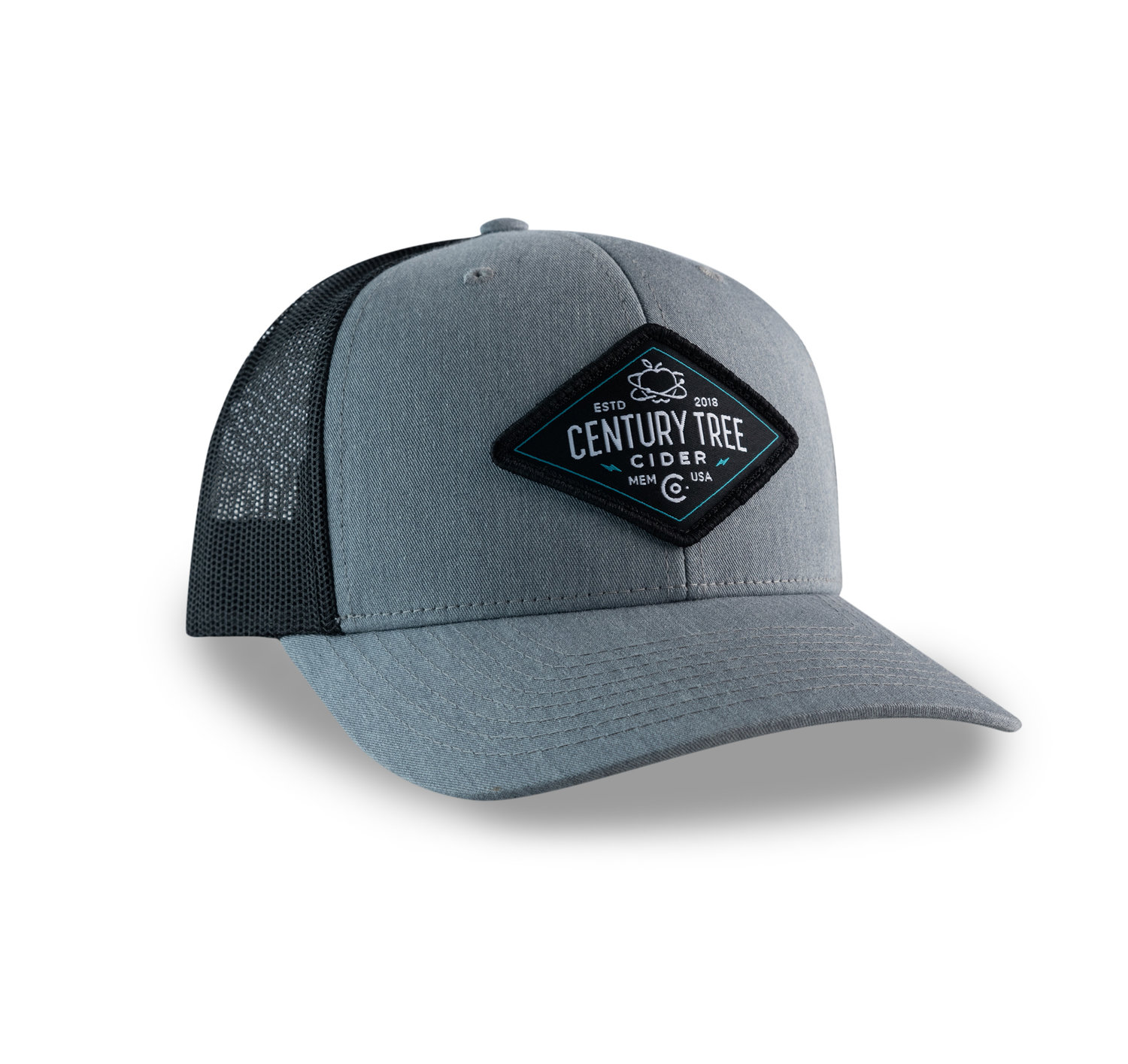 677c03372ad7c Premium Trucker Hat (Grey Black) — Century Tree Cider Co.