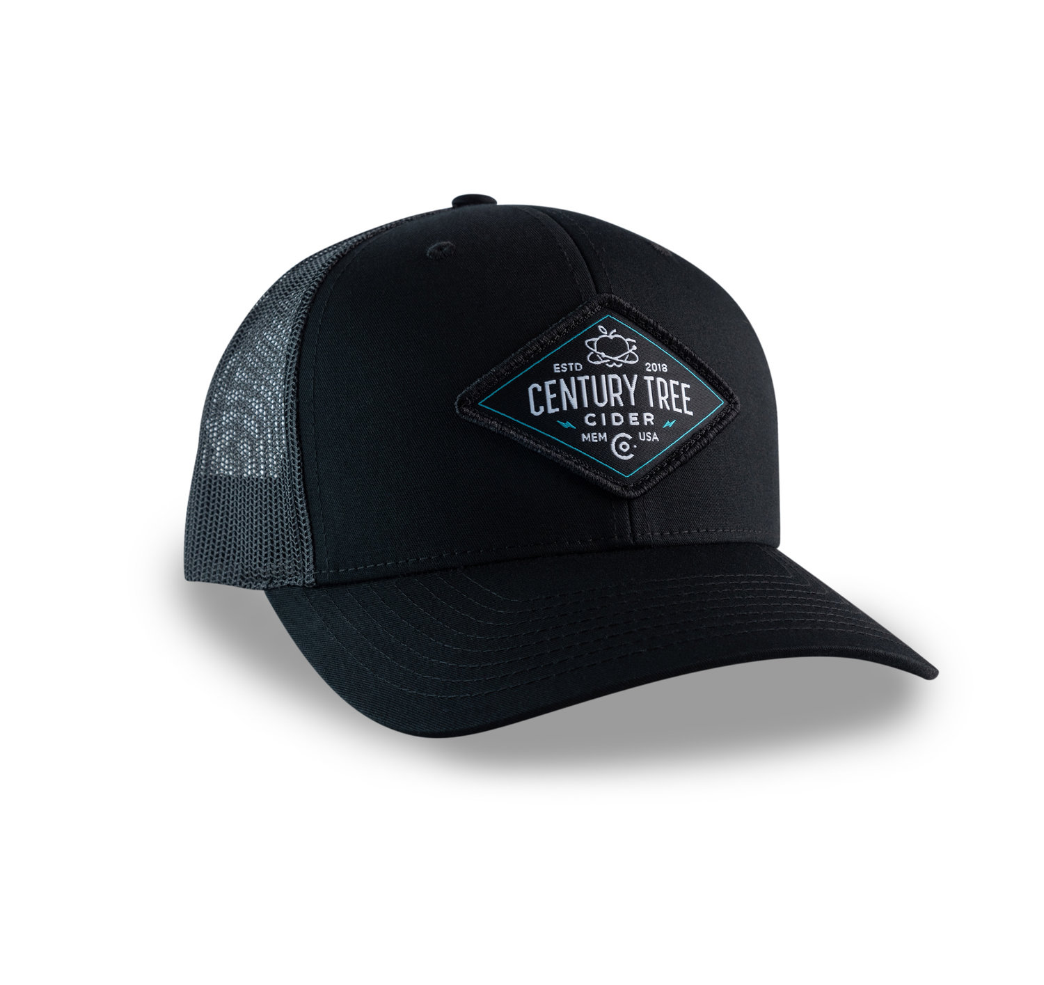 db31f73addcdd Premium Trucker Hat (Black) — Century Tree Cider Co.
