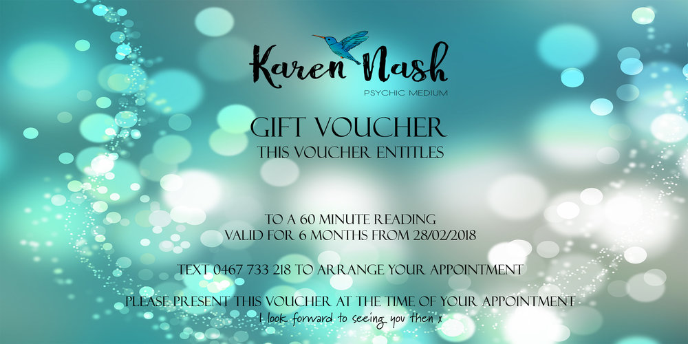 gift vouchers are available for readings and healings