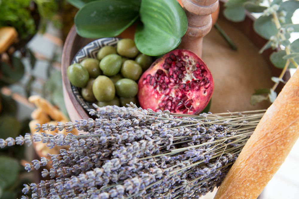 Lavender dried or fresh placed on your grazing table adds not only a delicious scent but also look so pretty on your table, tie with twine. You can always dry it afterwards so it won't go to waste!