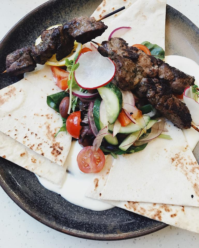 Lamb souvlaki a simple and easy dish to serve on a menu.
