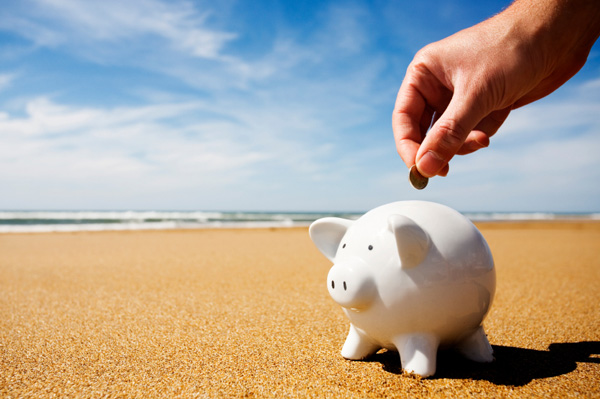 piggybank on beach