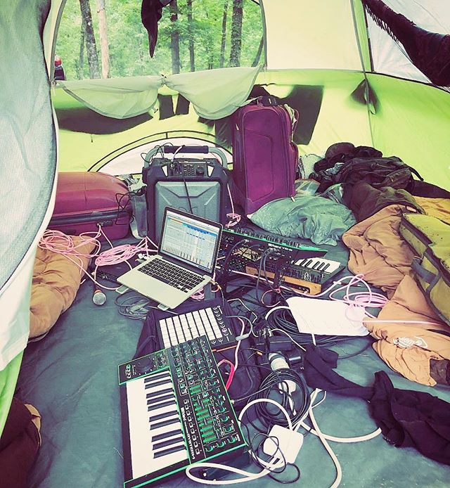 You know how we do - @cmbsynth and @trainingfangs of #SYNTHIA tent rehearsal before our set at #solarflux2018 @jungleuprecords #synths @rolandus @korg @ableton #launchpad #synthsintents #fluxfamily #synthsexual @docsbasement