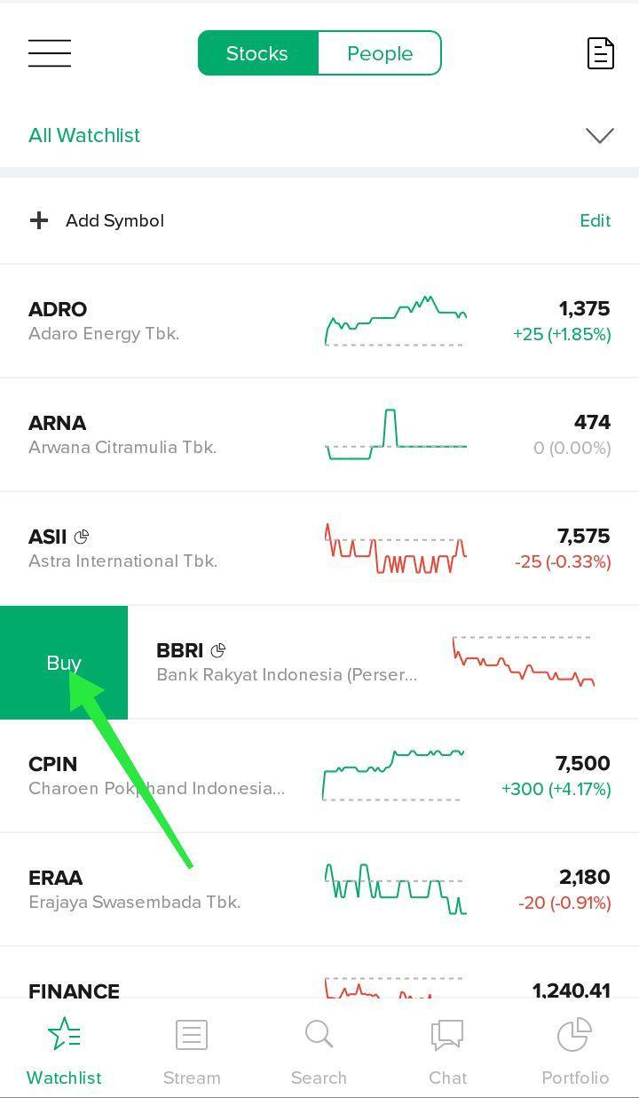 16. Buy - Tombol yang bisa kamu gunakan untuk melakukan pembelian saham.Untuk melakukan pembelian saham di aplikasi Stockbit, kamu tinggal swipe ke kanan saham pilihan kamu, lalu klik tombol Buy.