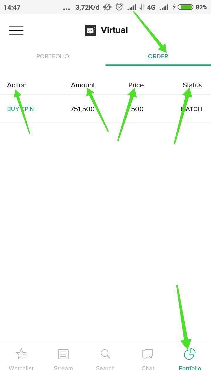 18. Order List dan Order Status - Menunjukkan list dari saham yang kamu order hari ini, di order list akan tertera jumlah nominal order dan pada harga berapa kamu melakukan pembelian atau penjualan saham.Kolom Status menunjukkan status order saham kamu.Status order meliputi:Match: Sudah dapat saham yang dibeli/ saham yang dijual sudah laku terjual.Open: order beli/jual masih mengantri atau belum match.Rejected: Order ditolak oleh sistem, karena tidak sesuai aturan, misal beli di luar jam bursa, beli di harga yang tidak sesuai aturan fraksi harga.Withdrawn: Status order ketika kamu membatalkan order beli/jual (Cancel Order).