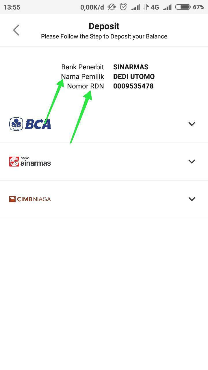 3. Rekening Dana Nasabah (RDN) - RDN atau RDI merupakan sebuah rekening dana yang dibuka di Bank yang menjadi partner dari broker / perusahaan sekuritas.RDN adalah rekening untuk menyimpan dana/kekayaan investasi investor.RDN harus dibuka atas nama investor yang bersangkutan sesuai dengan data dirinya di KTP.