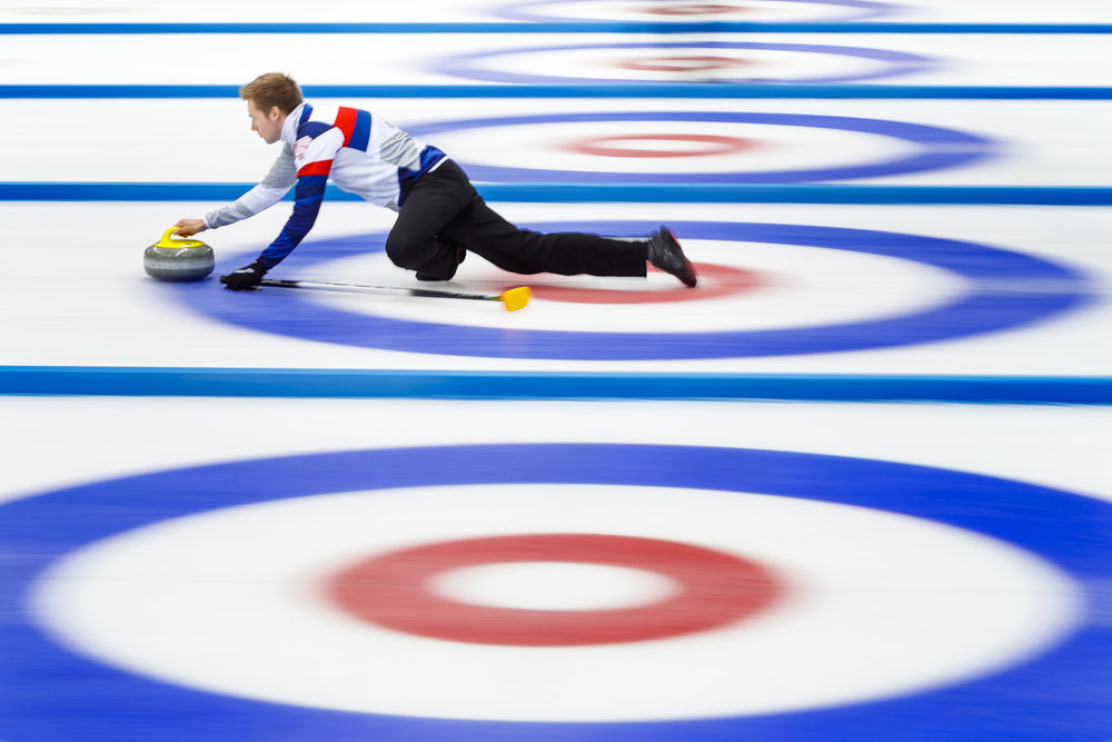 Czech Republic team skip Jaroslav Vedral delivers a stone during a short practice session prior to the semi-final game between Scotland and the Czech Republic at the World Mixed Curling Championship (WMCC) at the Palladium Ice Arena, in Champery, Switzerland, Saturday, October 14, 2017. (KEYSTONE/Valentin Flauraud)