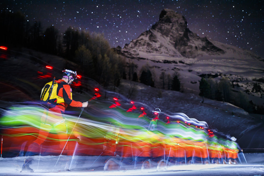 Competitors climb in front of the Matterhorn mountain at the start of the 21st Glacier Patrol race in Stafel outside the ski resort of Zermatt, Switzerland, April 17 2018. The Glacier Patrol (Patrouille des Glaciers in French), organized by the Swiss Army, takes place from April 17 to 21. Highly-experienced hiker-skiers trek for over 53km (3994m ascent and 4090m descent) along the Haute Route along the Swiss-Italian border from Zermatt to Verbier. (KEYSTONE/Valentin Flauraud)