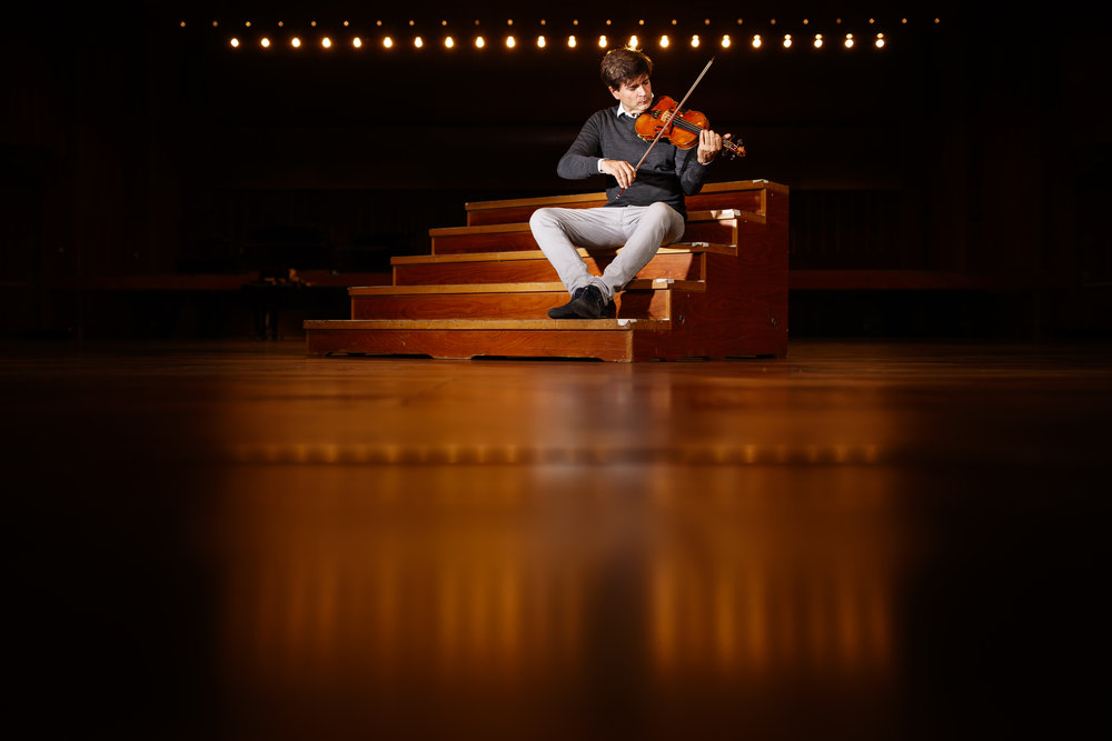 """Swiss Italian violinist virtuoso Fabrizio von Arx poses with his Stradivarius violin newly named """"Angel"""", formerly """"Madrileno"""", in Montreux, Switzerland, Monday, September 24, 2018. The violin worth 8 million Swiss Francs is property of """"Stradivarius Art & Sound"""" and was produced in 1720 in the workshop of the legendary luthier Antonio Stradivari. On September 21 2018 the violin was baptized by Cardinal Ravasi in Venice Italy as the owners of the instrument aim to have it stand as a symbol of peace and promotion of classical music throughout the world. (KEYSTONE/Valentin Flauraud)"""