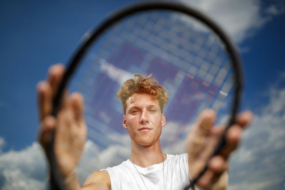 Tennis player Antoine Bellier is pictured in Nyon, Switzerland, Thursday, July 19, 2018. (VFPIX/ Valentin Flauraud)