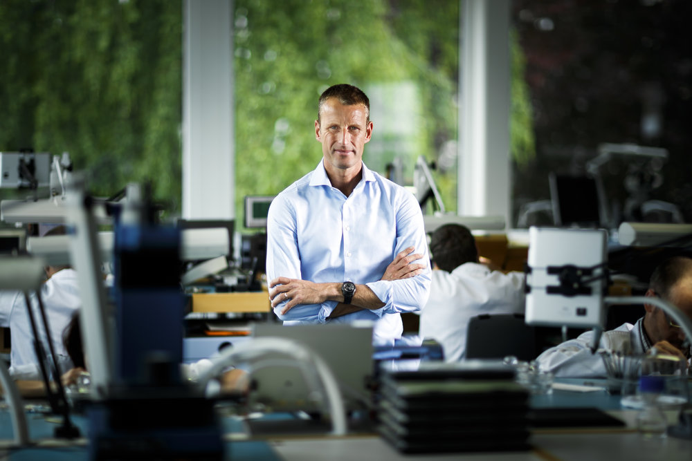 Patrick Pruniaux, CEO of Ulysse Nardin poses in the haut complication manufacture at the watchmaking company headquarters in Le Locle, Switzerland, Monday, May 28, 2018. (KEYSTONE/ Valentin Flauraud)