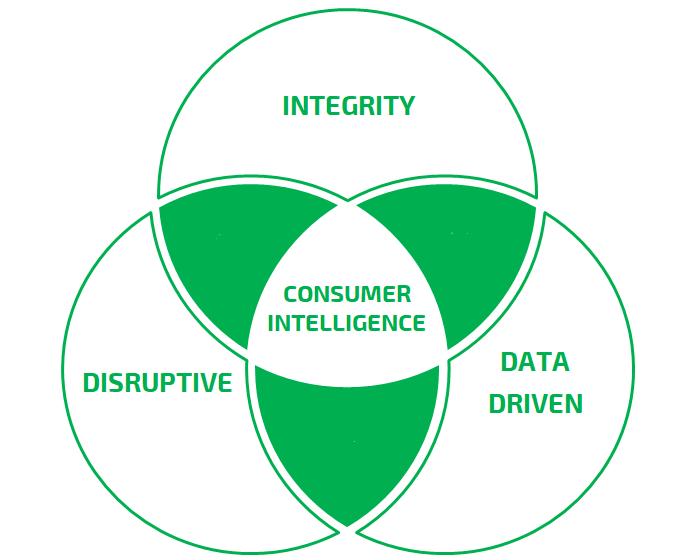 Core Values - หลักการเหล่านี้เป็นแนวทางและช่วยให้เราเข้าใจความแตกต่างระหว่างถูกและผิด ค่านิยมนี้ยังช่วยเราสามารถกำหนดว่าเราเป็นผู้นำด้าน Consumer Intelligence ที่นำเสนอข้อมูลเชิงลึกของผู้บริโภคผ่านวิธีที่ดีที่สุดและ ช่วยให้เราบรรลุเป้าหมายด้วยการสร้างแนวทางอันชัดเจน