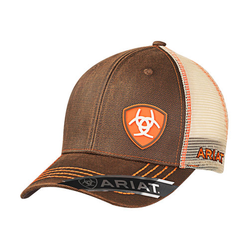Ariat Men s Mesh Cap Oilskin Brown Orange - 1506102 — Griffith Feed ... 3b453d5925d