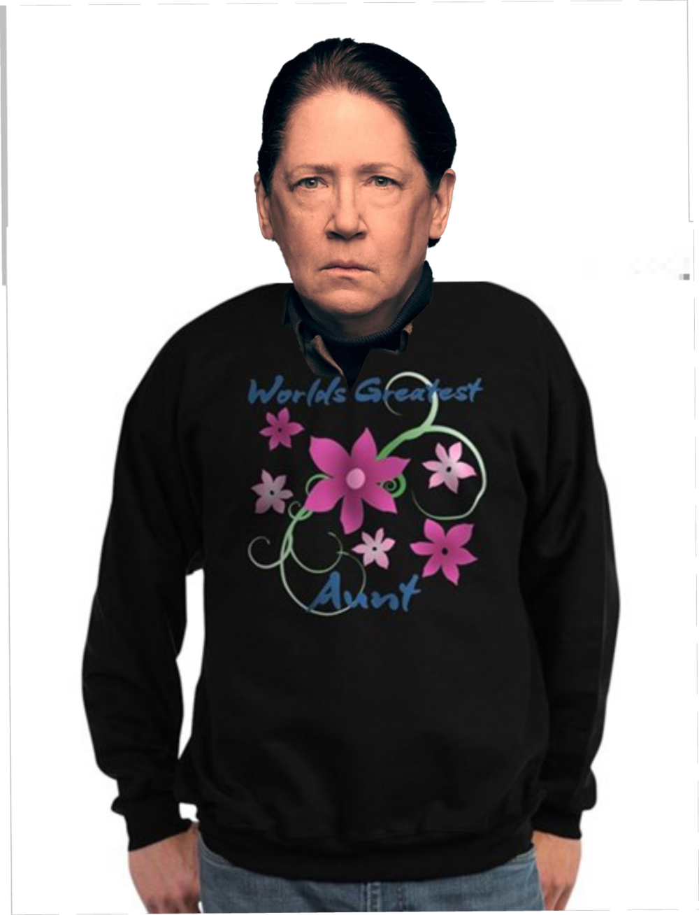 Aunt Lydia tries out her new sweatshirt.