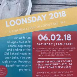 LOONSDAY - A little known, but grand in scale yard sale/swap/flea market! & Now........ Vendor Event. Come-one-come-all. Walk the Annual Loonsday course and shop while you do it. Loonsday is a 5.5 mile walk along the B-E-A-U T ful shores of Loon Lake, beginning and ending at the Old Schoolhouse. The walk is generally held on the first Saturday of June. Over 20 private yard sales and the ever popular college fund lemonade stand(s). Sponsored by the children of Loon Lake :). ***Sales run the whole weekend!***