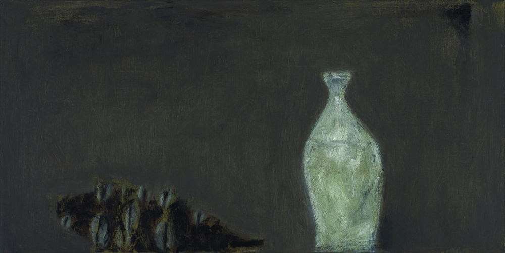 Sake bottle and banksia,  2013  oil on canvas  30 x 60 cm
