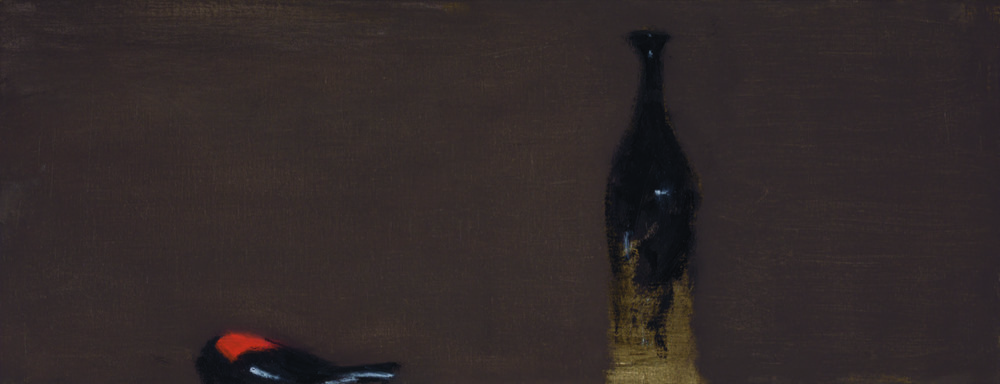 Robin and bottle , 2017  oil on canvas  35.5 x 91 cm