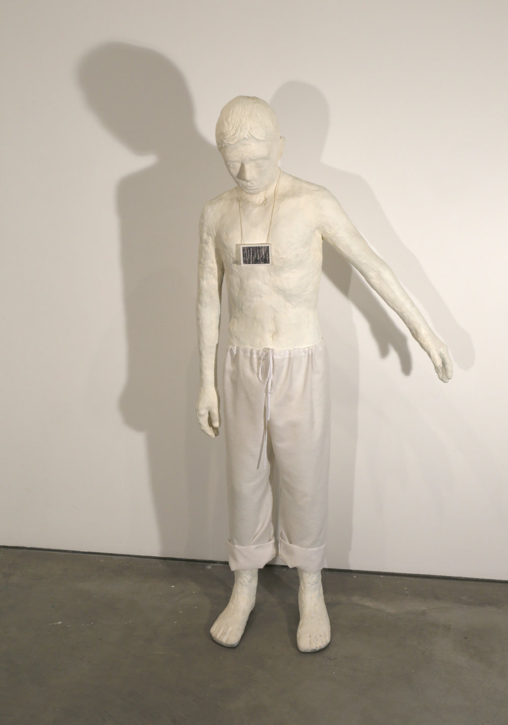 Enrique Martinez Celaya   The Boy Raising His Arm , 2007  bronze and muslin  160 x 81 x 23 cm