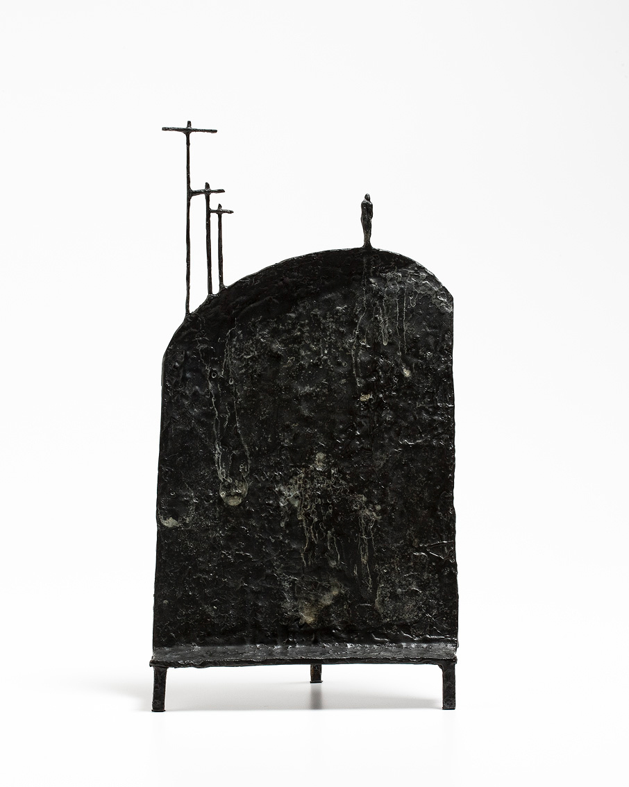Rick Amor   Figure on a hill , 2012  bronze, edition 1 of 3  49.5 x 26 x 16 cm