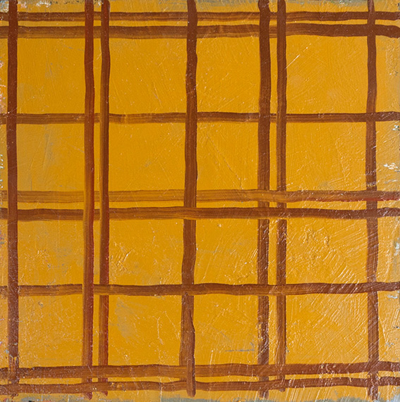 Yellow/Brown Plaid Painting, 2017  oil on plywood  30.5 x 30.3 cm