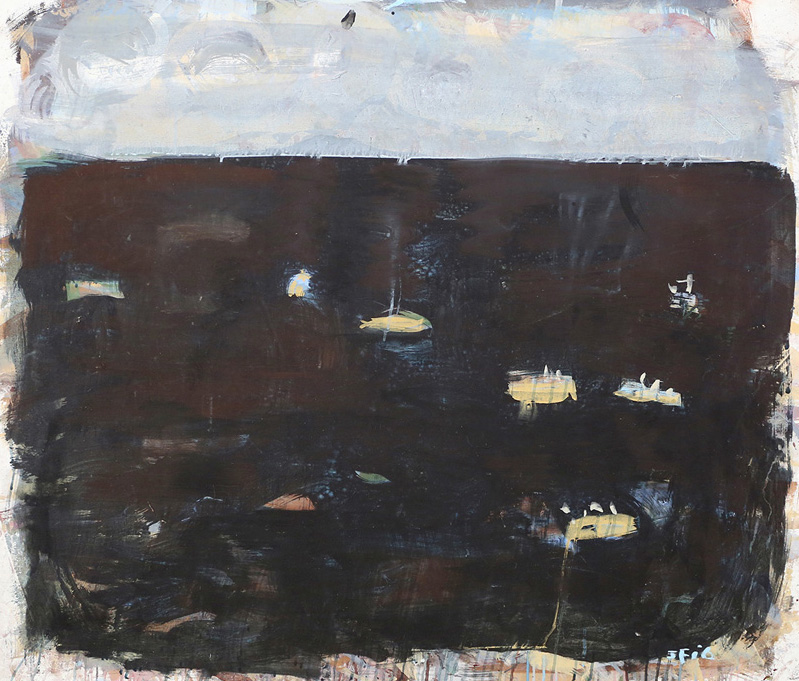 Fishing Fleet Sleeping , 2016  pigment and PVA binder on canvas  106b x 124.5 cm
