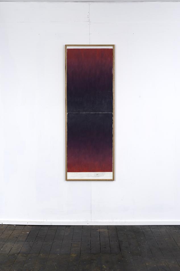 RH 262 Elkington Park, Balmain (2031 11 01 17) , 2017  oil paint, synthetic polymer, marble dust, wax, cotton rag paper, Tasmanian Oak, Museum glass  161 x 58 x 4 cm