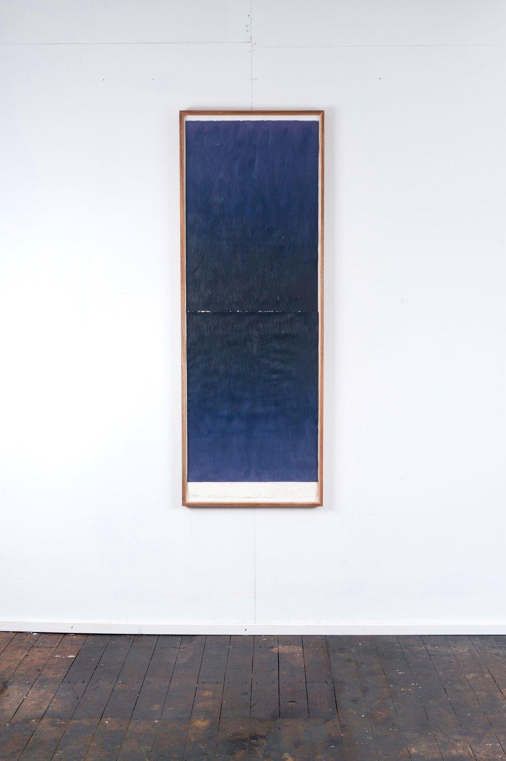 RH 264 Downtown, LA (2317 28021216) , 2016  oil paint, synthetic polymer, marble dust, wax, cotton rag paper, Tasmanian Oak, Museum glass  161 x 58 x 4 cm
