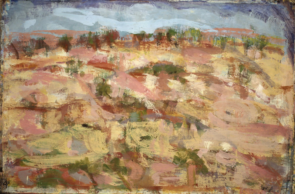 JOE FURLONGER   Landscape North West NSW , 2018  pigment and PVA binder on canvas  80 x 118.5 cm