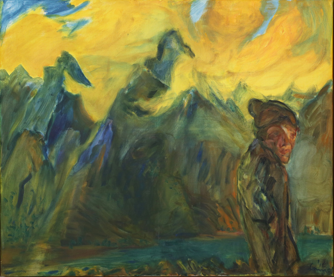 KEVIN CONNOR   Figure in mountain twilight,  2016  oil on canvas  102 x 112 cm