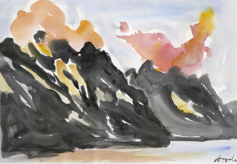 KEVIN CONNOR   Mountain Studies, N.Z. (2) , 2016  watercolour on paper  28 x 40 cm