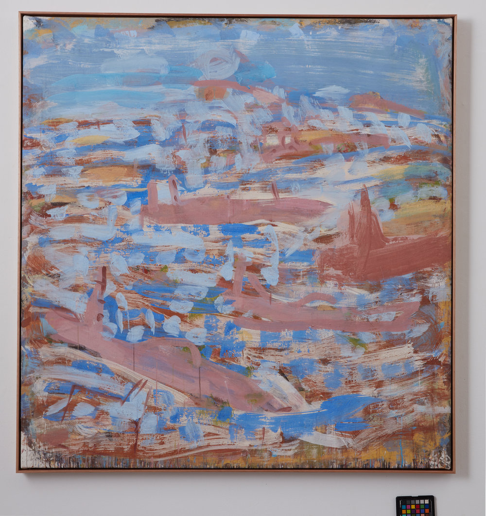 JOE FURLONGER   Boats Leaving Harbour , 2018  pigment and PVA binder on canvas  144.5 x 138.5 cm