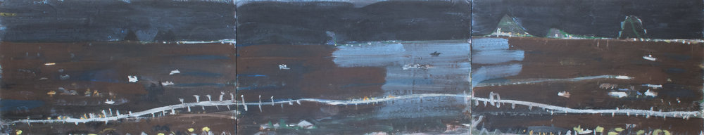 JOE FURLONGER  Bridge to Bribie Island, 2010 acrylic bound pigment on canvas 123 x 603 cm