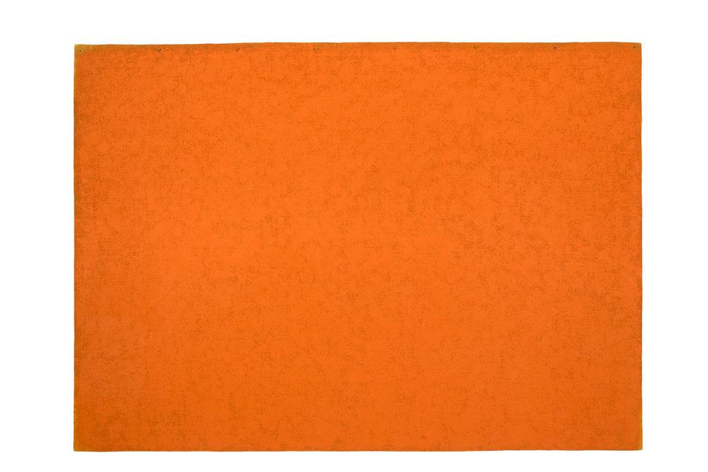 BRIAN BLANCHFLOWER  Canopy 72 (orange), 2015 acrylic, silica, pumice poweder, oil on laminated hessian 182 x 252 cm