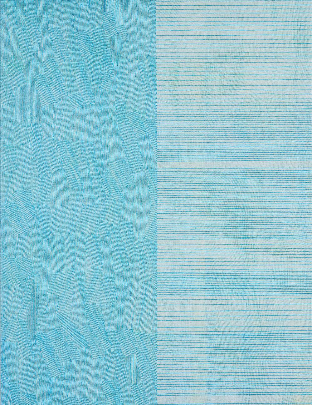 KARL WIEBKE  57-18 blue on white grid , 2018 acrylic on linen 70.5 x 54 cm