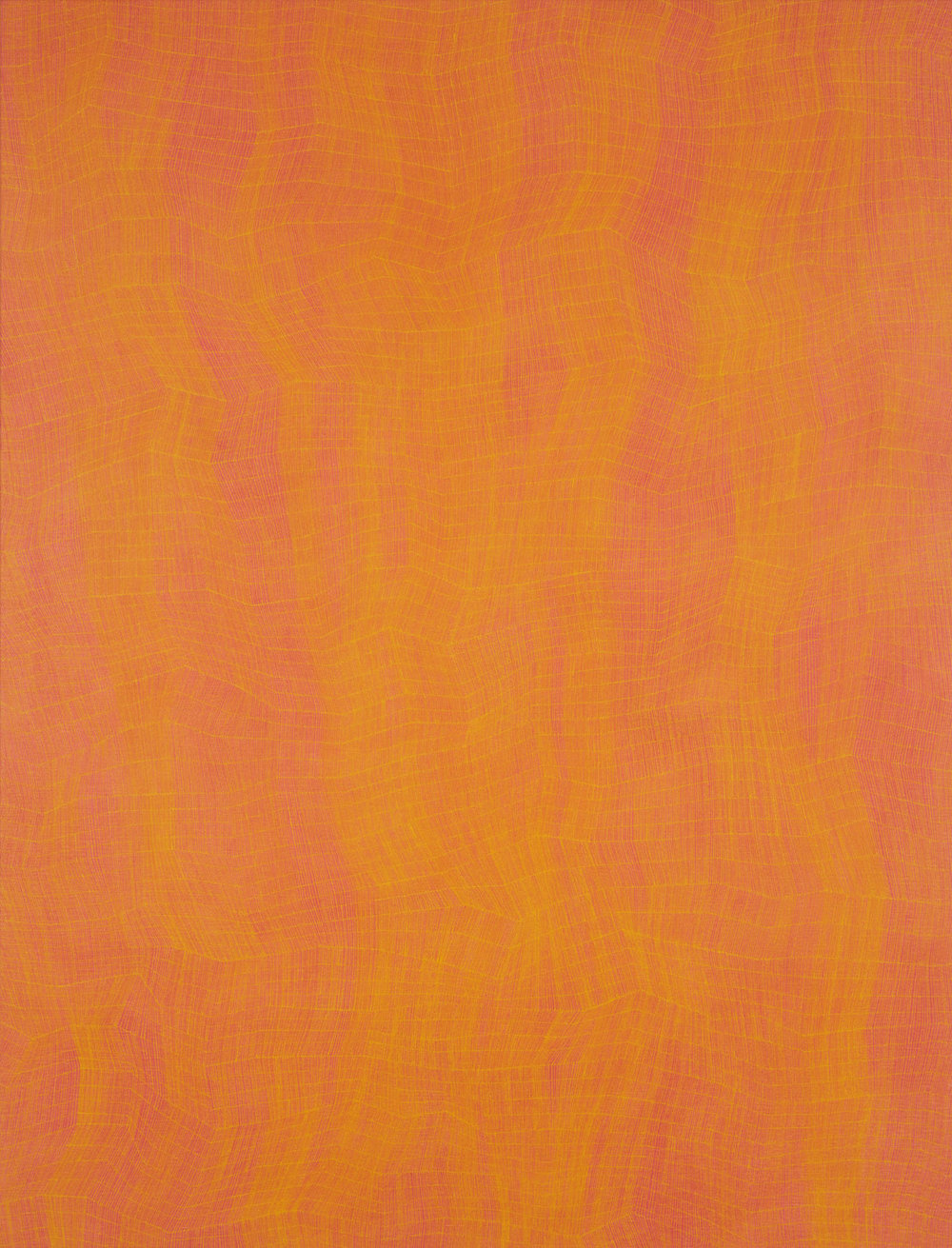 KARL WIEBKE  48-17 yellow on orange , 2017 acrylic on linen 127.5 x 97 cm