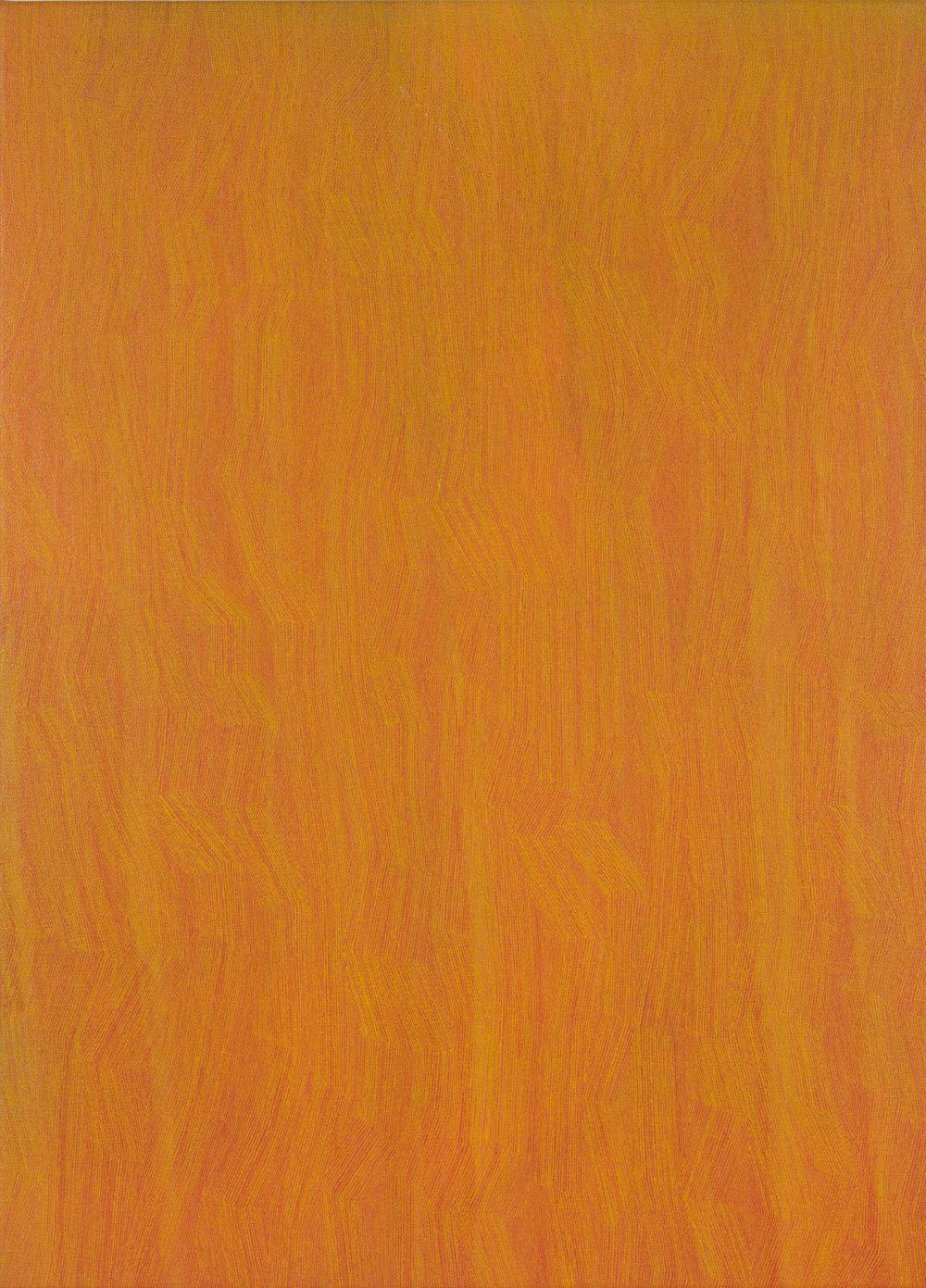KARL WIEBKE  49-17 yellow on orange , 2017 acrylic on linen 83 x 60 cm