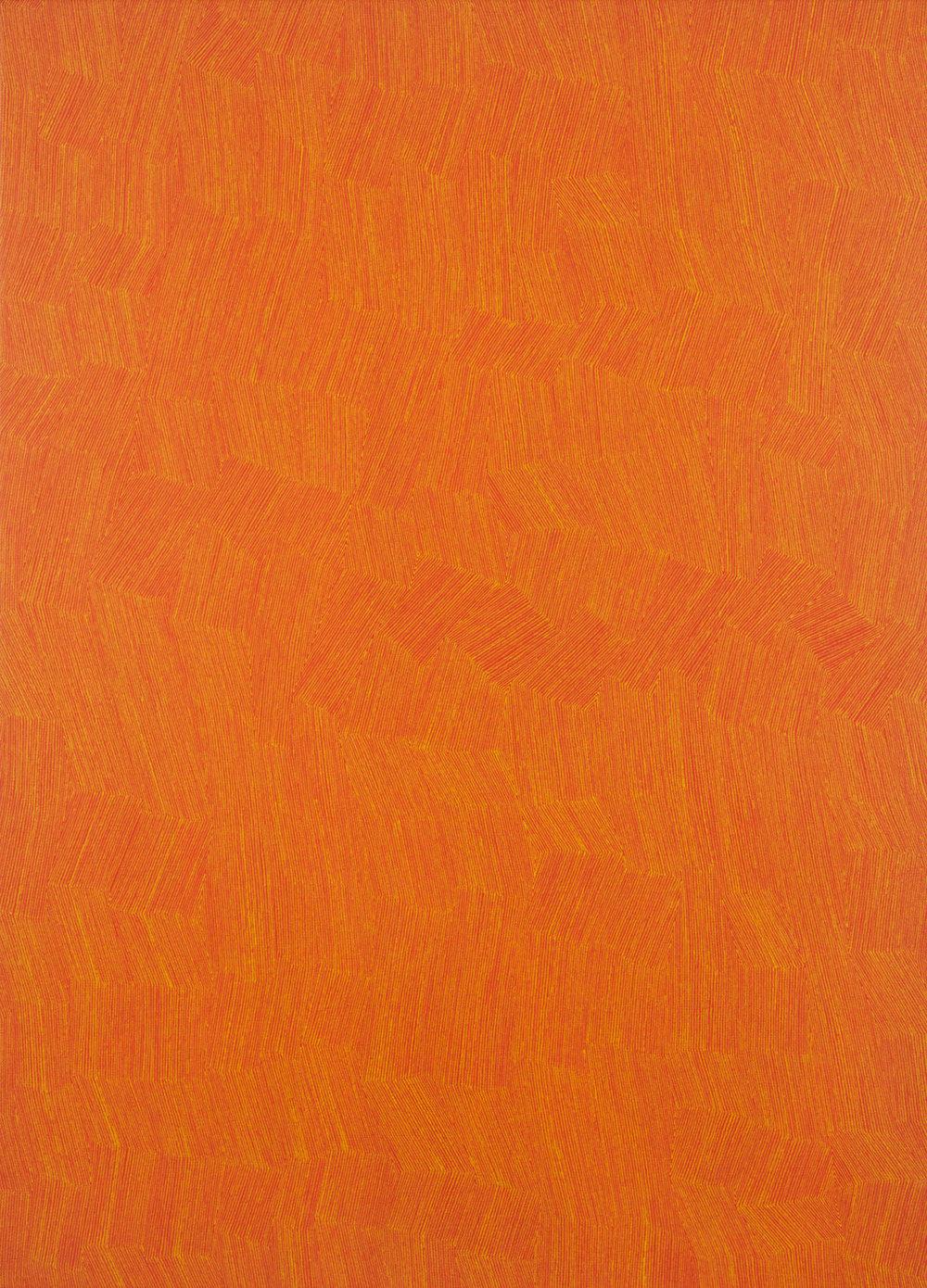 KARL WIEBKE  53-17 yellow on orange , 2017 acrylic on linen 83 x 60 cm