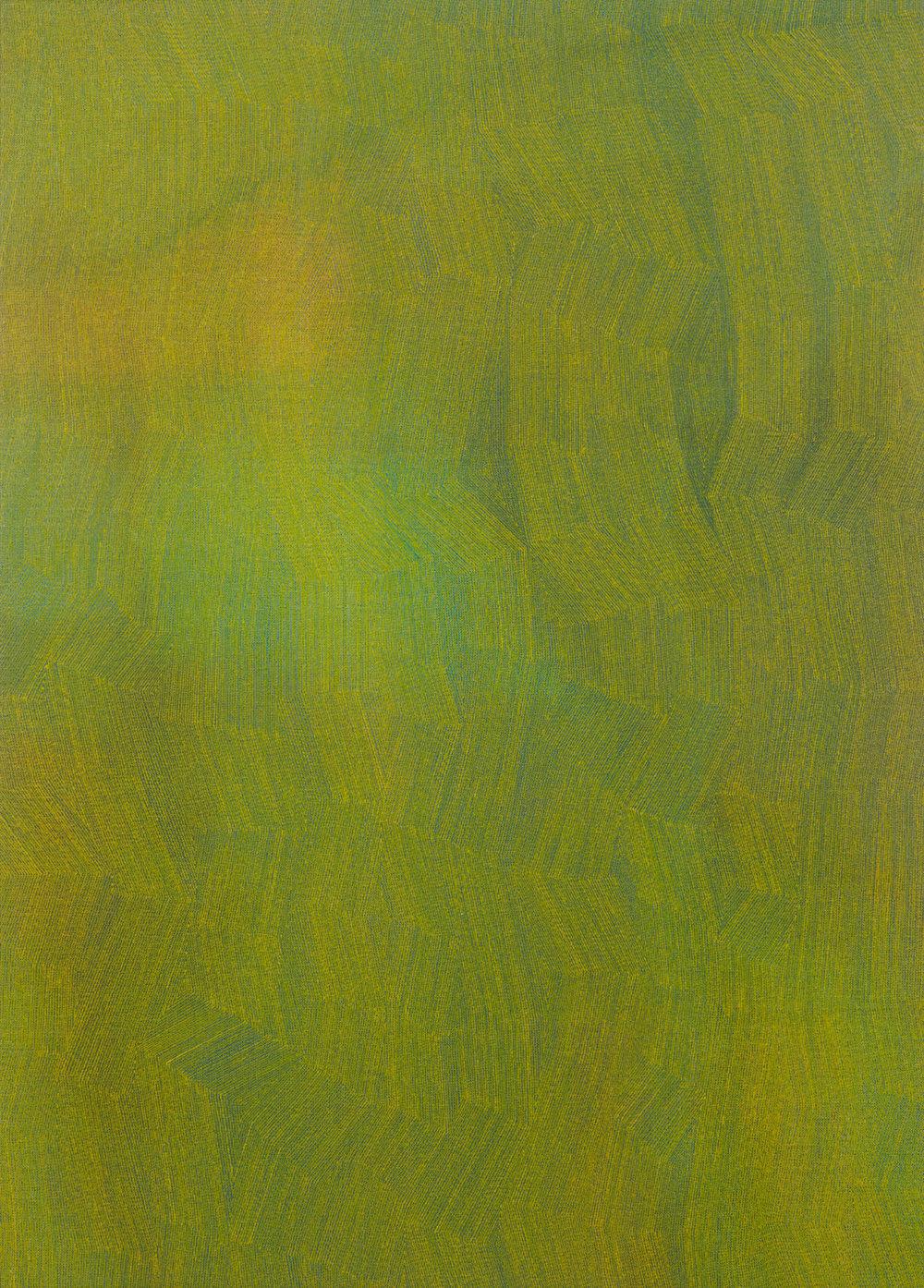 KARL WIEBKE  50-17 yellow on mixed greens , 2017 acrylic on linen 83 x 60 cm
