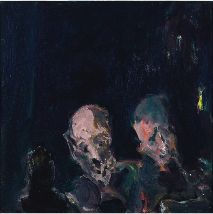 Kevin Connor  Faces in the city's night , 2009 oil on board 40 x 40 cm