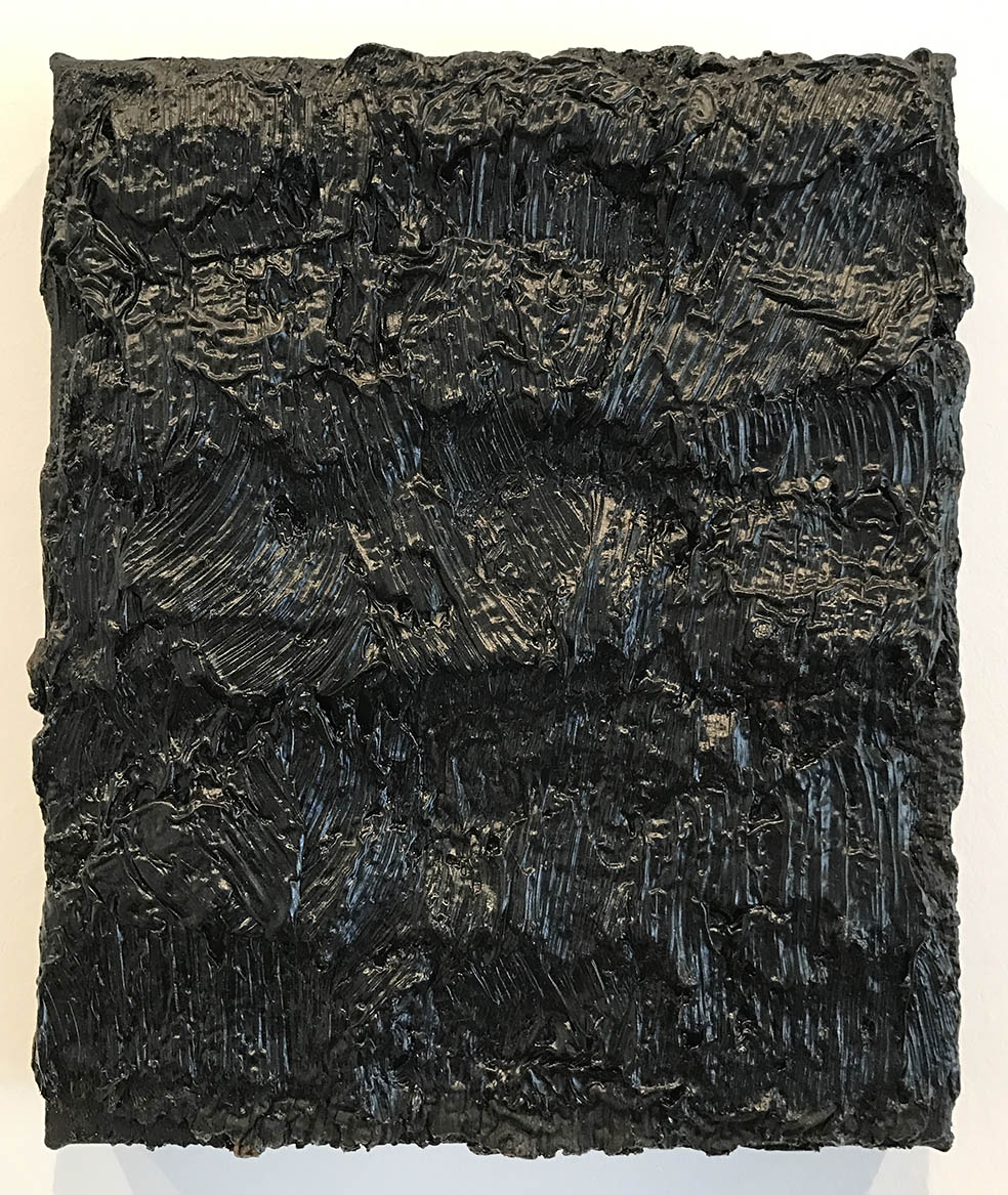 DAVID SERISIER  Untitled Black Vertical Painting no.7 , 2005 oil on linen 31.5 x 26cm