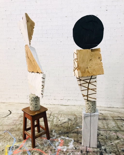 PETER SHARP  Bird in the hand   and   Full Moon , 2018 found objects, hand cut painted timber and concrete 180 cm each
