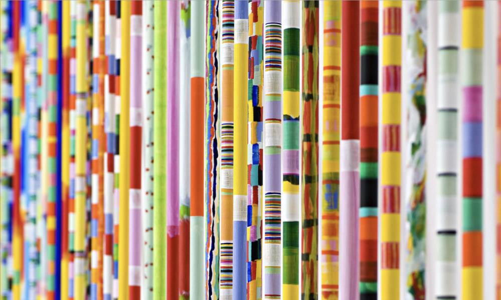 KARL WIEBKE  Sticks , 2008 & 2010-2012 timber and acrylic paint 220 x 1.8 cm each