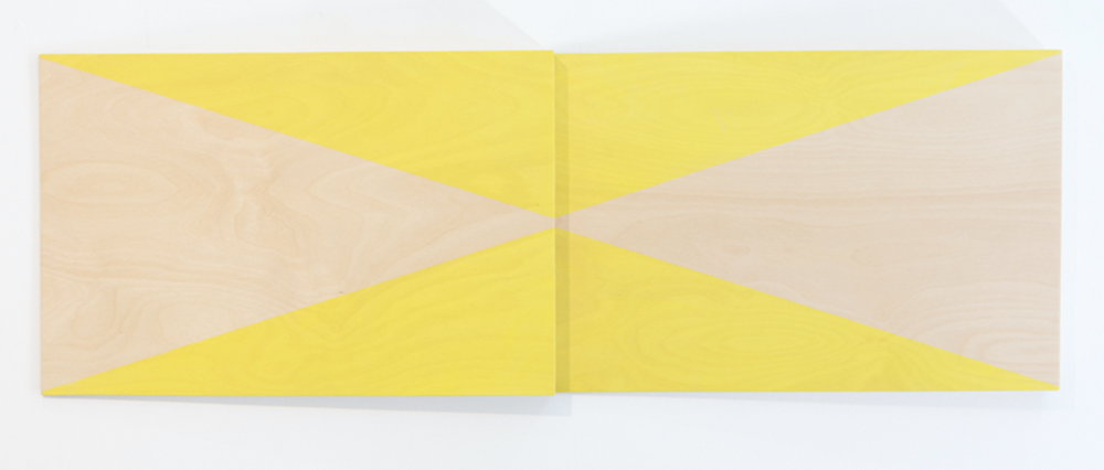 VIRGINIA COVENTRY  Test Piece - Lemon Yellow,  2018 acrylic on plywood 2 Panels 40 x 60 cm each