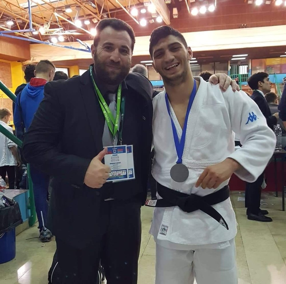 Panagiotis Shakkos pictured with coach Marinos Piponas