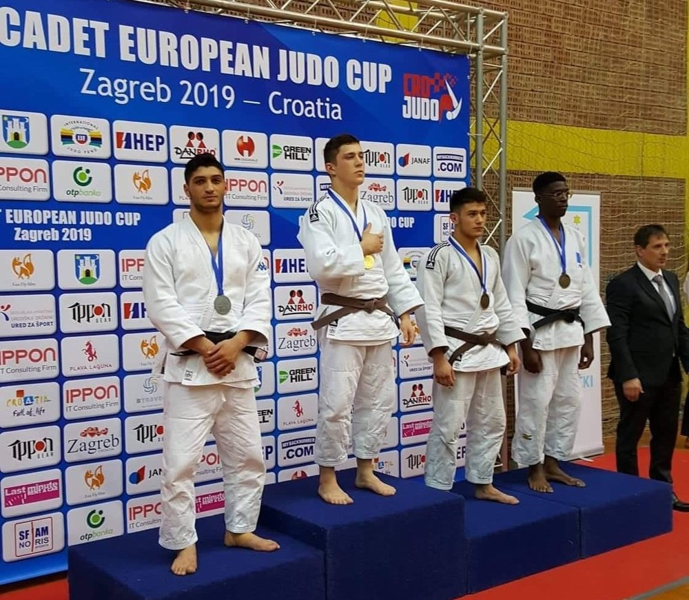 Panagiotis Shakkos pictured on the podium receiving his silver medal