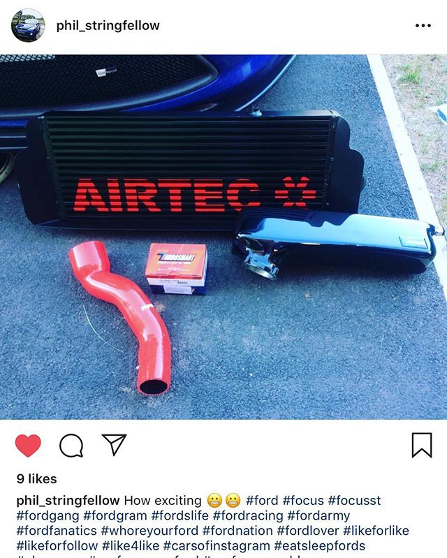 After giving a good discount for @phil_stringfellow with the Zunsport grille. He's trusted us again to get him the best prices on the Airtec intercooler, boost pipe, turbosmart recirculation valve and Autospecialists plenum chamber. Safe to say he's one very happy customer 💪🏼🙌🏼 #intercooler #boost #boostpipes #red #shiny #turbo #mk2focusst #focusst #5pot #modifiedcars #performancecar #junsportperformance