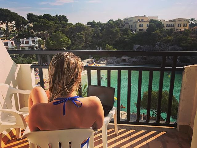 Sat in the sun looking after orders from abroad. We're still up and running and firing in all cylinders to make sure our customers are happy and get their parts on time. #holiday #sun #workingabroad #majorca #caladora #balcony #laptop #girls #bikini #modifiedcars #performancecar #fastcars #turbo #junsportperformance
