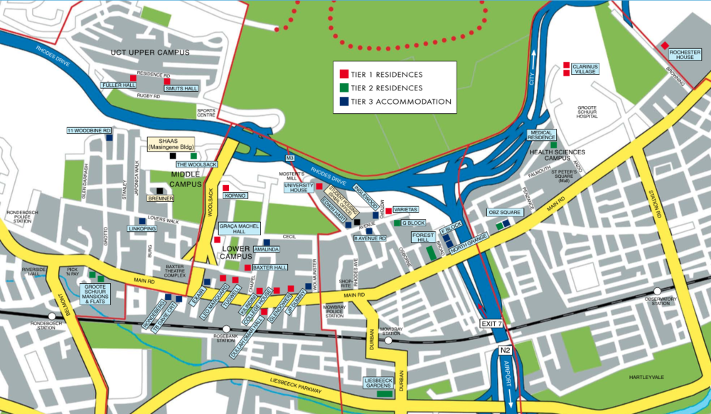 Map of UCT residences